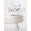 CakeTopper Happy Birthday silber