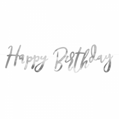Happy Birthday Girlande silber