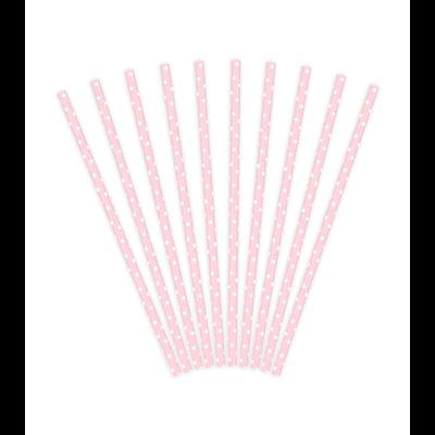 Papier Strohhalme rosa weiße Punkte