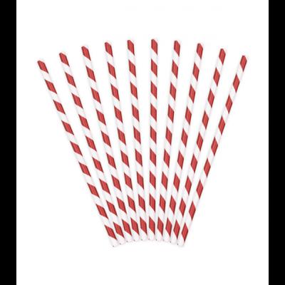 Papier Strohhalme rot weiß