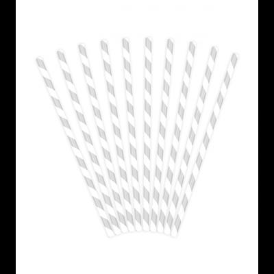 Papierstrohhalm weiß silber