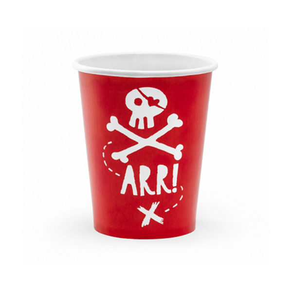 Pappbecher Pirat Rot